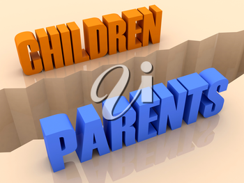Two words CHILDREN and PARENTS split on sides, separation crack. Concept 3D illustration.