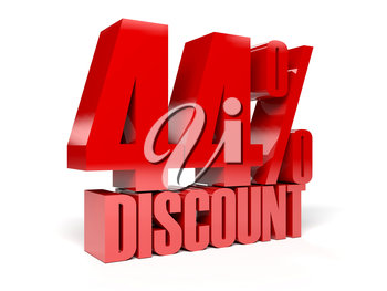 44 percent discount. Red shiny text. Concept 3D illustration.
