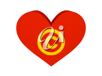 Big red heart with copyright symbol. Concept 3D illustration.