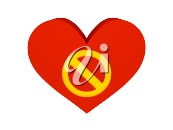 Big red heart with stop symbol. Concept 3D illustration.
