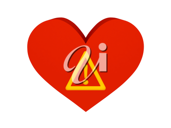 Big red heart with warning symbol. Concept 3D illustration