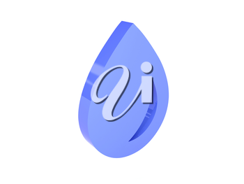 Water drop icon over white background. Concept 3D illustration.