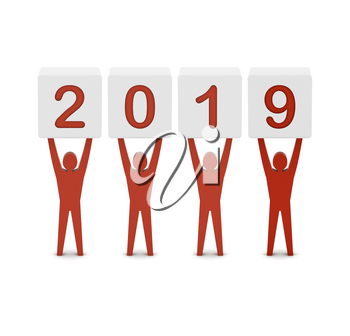 Men holding the 2019 year. Concept 3D illustration.