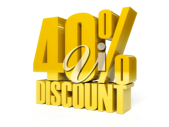 40 percent discount. Golden shiny text. Concept 3D illustration.