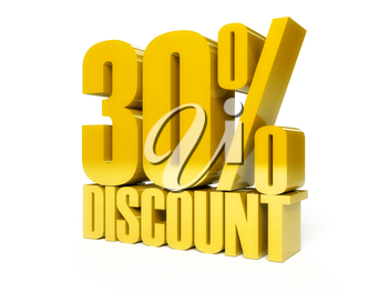 30 percent discount. Golden shiny text. Concept 3D illustration.