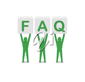 Men holding the word faq. Concept 3D illustration.