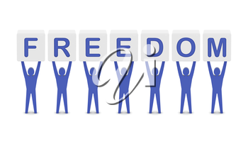 Men holding the word freedom. Concept 3D illustration.