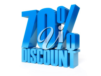 70 percent discount. Blue shiny text. Concept 3D illustration.
