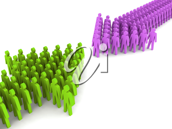 Two different working groups. Concept 3D illustration.