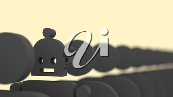 Royalty Free Clipart Image of a Special standing out from the crowd. Human and robot differences. 3D rendering