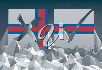 faroe national flag textured vote mark on low poly landscape