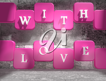 background relative to valentines day. With love text on pink and white boxes in empty concrete room. 3D rendering