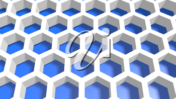 Perspective view on blue and white honeycomb . 3D rendering backdrop