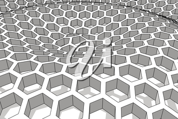 Perspective view on honeycomb . 3D rendering backdrop