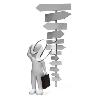 Signposts Businessman Representing Blank Signs And Confusion 3d Rendering