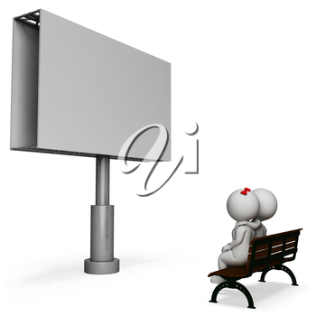 Blank Copyspace Showing Loving Couple And Placard 3d Rendering
