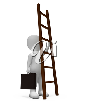 Businessman Climb Showing Hard Times And Increase 3d Rendering