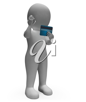 Credit Card Meaning Purchasing Banking And Mobile 3d Rendering