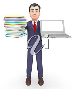 Businessman Laptop Representing Support Commercial And Books 3d Rendering