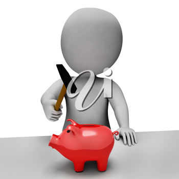 Savings Piggybank Meaning Spending Word And Shopping 3d Rendering