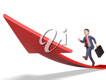 Character Businessman Meaning Arrow Sign And Progress 3d Rendering
