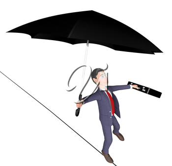 Businessman Tightrope Meaning High Line And Balancing 3d Rendering
