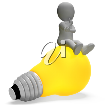 Character Lightbulb Indicating Think About It And Power 3d Rendering
