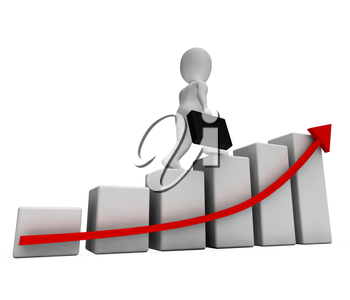 Success Profits Indicating Business Person And Improve 3d Rendering