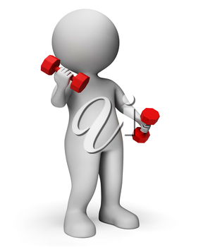 Dumbbells Exercise Meaning Get Fit And Gym 3d Rendering