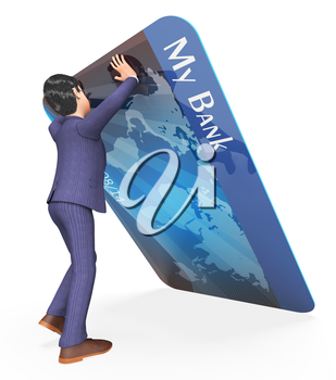 Debit Card Indicating Business Person And Paying 3d Rendering