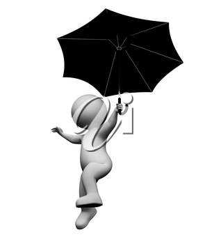 Umbrella Character Showing Man Fly And Flying 3d Rendering