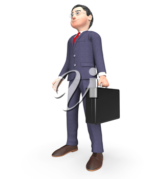 Businessman Standing Indicating Render Waiting And Illustration 3d Rendering