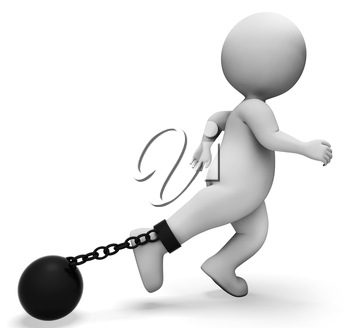 Ball And Chain Indicating Illegal Misdeed And Enslaving 3d Rendering