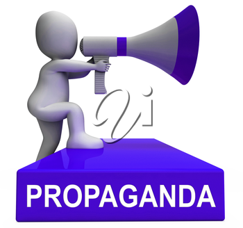 Propaganda Megaphone Message From North Korea 3d Illustration. Misinformation And Misleading Government News Hoax Manipulation From Kim Jong Un