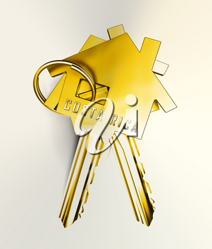Costa Rica Homes Keys Depicts Real Estate Or Investment Property. Luxury Residential Buying And Ownership - 3d Illustration