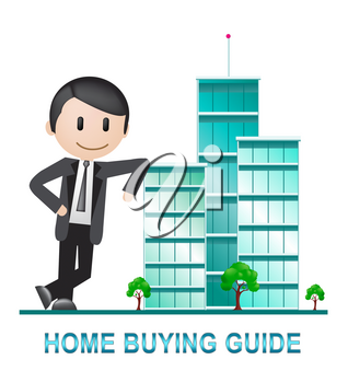 Home Buying Guide Apartments Depicts Evaluation Of Buying Real Estate. Purchasing Guidebook And Information - 3d Illustration