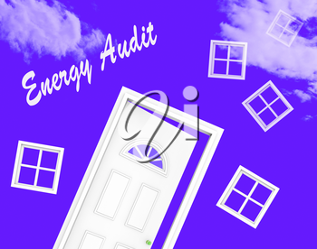 Home Energy Audit Door Shows Saving Power And Reducing Costs. Conservation Of Electricity And Heat Evaluation - 3d Illustration