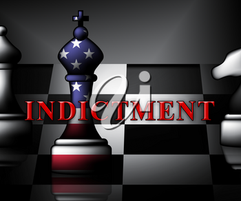 Federal Indictment Chess Piece Shows Lawsuit And Prosecution Against Accused 3d Illustration. Litigation And Enforcement Of Justice