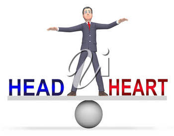 Head Vs Heart Balance Portrays Emotion Concept Against Logical Thinking. Cerebral Reason Versus Soul And Feeling - 3d Illustration