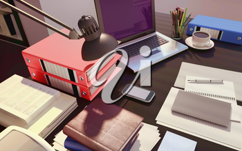 Wooden table with office supplies and coffee. 3D illustration