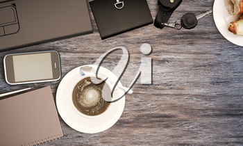 Wooden table with office supplies and coffee, top view. 3D illustration