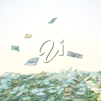 Dollar bills falling into a pile on sky background.