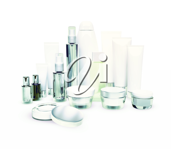 Daily, beauty care cosmetic. Face cream, eye cream, serum and lip balm isolated on white. Skin care.