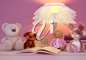 Children's toys, books, clock, the lamp are located on a table.