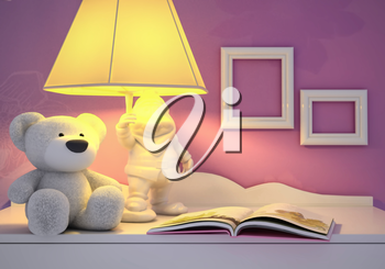 Children's toy, book, the lamp are located on a table.
