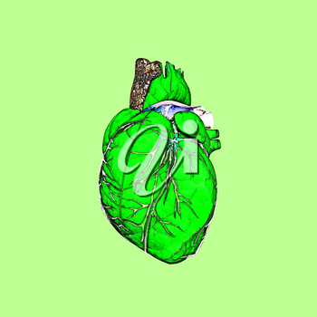 Spring. A green leaf, a tree trunk, spring streams - in the form of nature heart. Heart beat of the nature.