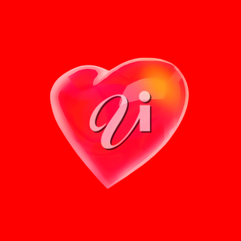 Heart Shape on red background.