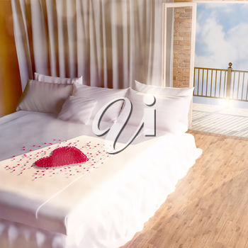In the morning in a bedroom. Heart from petals of roses on bed.