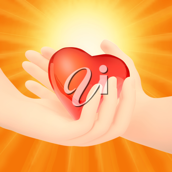 Valentine Couple. Making shape of Heart by their Hands. Happy Joyful Family. Love Concept. Heart Sign.  Valentines Day.