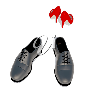 Women's shoes and men's shoe, symbol photo for separation, conflict.